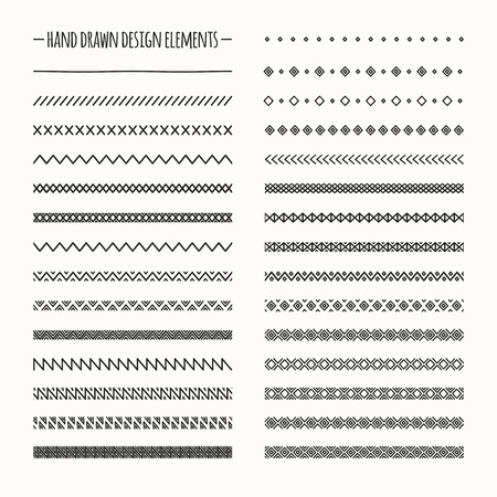 Hand drawn vector line border set and scribble design element. Geometric monochrome vintage fashion pattern. Illustration. Trendy doodle style brushes.