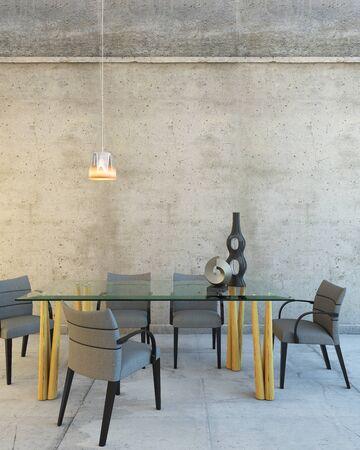 Foto de Glass Table In A Big Grey Rest Room - Imagen libre de derechos