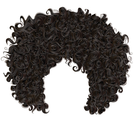 Ilustración de trendy curly african black hair. realistic 3d. fashion beauty style. - Imagen libre de derechos