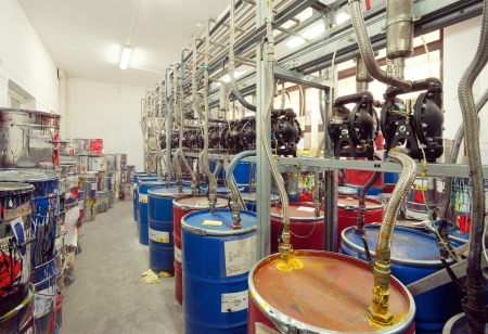 Interior of a factory room for mixing inks, used in printing.
