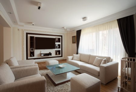 Interior of a modern living room in white.