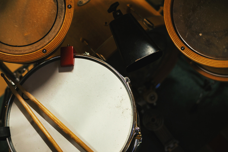 Part of a drum kit, details of snare.