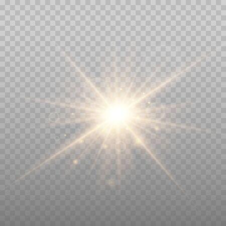 Illustration pour Star explosion vector illustration, glowing sun. Sunshine isolated on transparent background. - image libre de droit