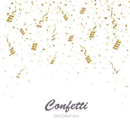 Illustration for Gold Confetti Background. Party Vector Illustration - Royalty Free Image