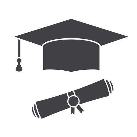 Illustration pour Graduation hat and diploma scroll outline vector icon. Graduation celebration cap silhouette pictogram for web and applications. Isolated vector graduation student hat - image libre de droit