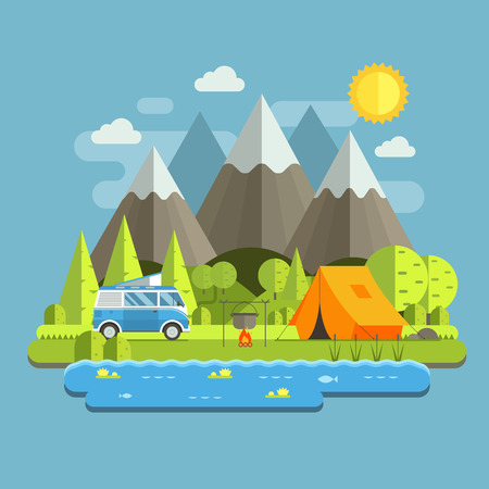 Ilustración de Campsite place in mountain lake area. Forest camping travel landscape with rv camper bus in flat design. Summer camp place with traveler bus vector illustration. National park auto trip campground. - Imagen libre de derechos