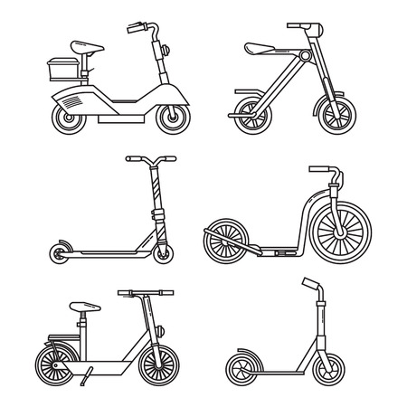 Illustration pour Kick scooter set. Balance bikes. Various scooters eco alternative city transport. Thin line design biking and rolling wheels. Vector push scooter and electric scooter collection. Urban green vehicles. - image libre de droit