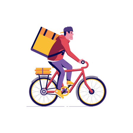 Illustration pour Courier bicycle delivery man with parcel box on the back. Ecological city bike delivering service illustration with modern cyclist carrying package. Food delivery boy. - image libre de droit
