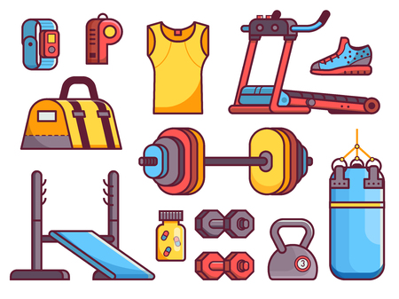 Gym and fitness icon set with body building, strength training and running elements. Sport equipment icons in flat design including treadmill, punching bag, kettlebells and other accessories.