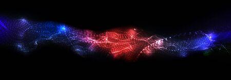 Illustration pour Abstract background.  Particles liquid dynamic flow. Trendy fluid cover design. - image libre de droit