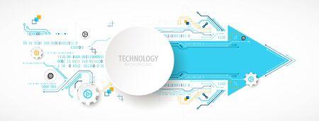 Illustration pour Abstract technology circuit board. Communication concept. Arrow theme. - image libre de droit