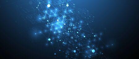 Ilustración de Technology background with plexus effect. Big data concept. Binary computer code.  Vector illustration. - Imagen libre de derechos
