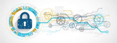 Ilustración de Personal data security Illustrates cyber data or information privacy idea. Color abstract  internet technology. - Imagen libre de derechos