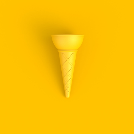 Photo pour Sweet wafer cone abstract minimal yellow background, Food concept, 3d rendering - image libre de droit