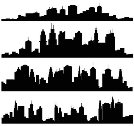 Foto de Set of vector cities silhouette - Imagen libre de derechos