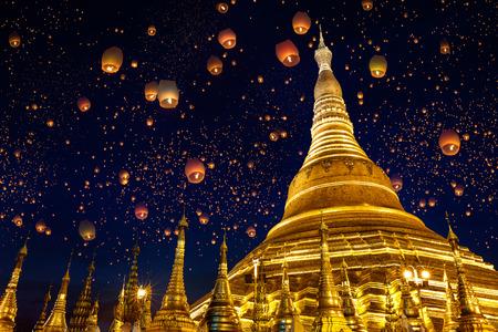 Shwedagon pagoda with larntern in the sky, Yangon Myanmar
