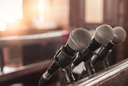 Photo for Three microphones were inside the church for the sermon of a Christian pastor. - Royalty Free Image