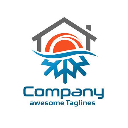 Ilustración de Hot And Cold Symbol with roofing logo - Imagen libre de derechos