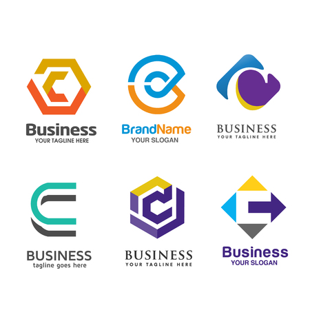 Set of letter C logo icons design template elements