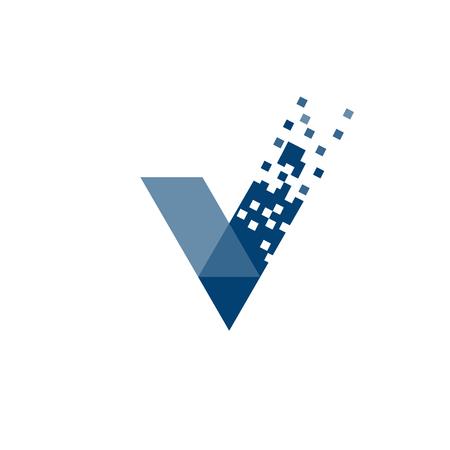 Ilustración de letter V data tech logo concept, right logo,v sign - Imagen libre de derechos