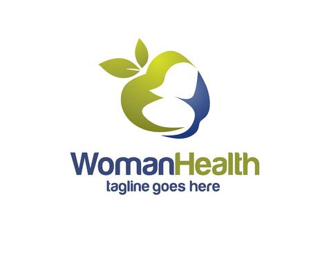 Illustration pour apple with woman silhouette for health and diet logo vector - image libre de droit