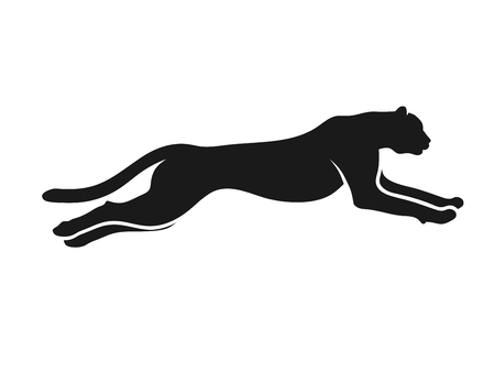 Illustration pour Running Cheetah silhouette monochrome color. Symbol of vitality. Creative design. Vector illustration - image libre de droit