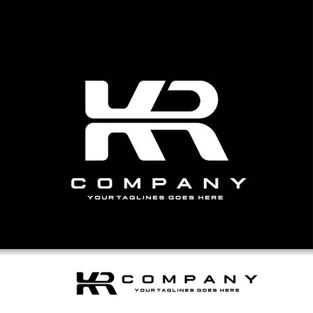 creative initial letter KR logo with black background