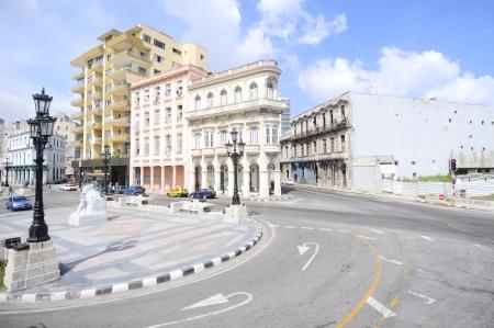 El Paseo del Prado, a famous street in Havana near View of the Malecon road