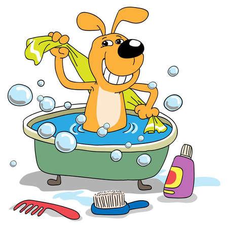 The cheerful puppy bathes in a bath