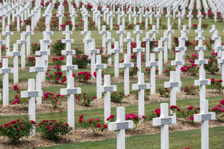 VERDUN, FRANCE - AUGUST 19, 2016: Cemetery for First World War One soldiers who died at Battle of Verdun