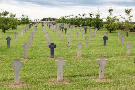 VERDUN, FRANCE - AUGUST 19, 2016: German cemetery near Romagne-sous-Faucon for First World War One soldiers who died at Battle of Verdun
