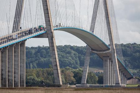 Pont de Normandie, bridge over river Seine near Le Havre in France