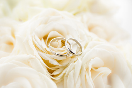 Foto de Macro shot of two platinum wedding rings lying on white roses - Imagen libre de derechos