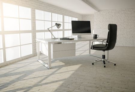 Foto de Interior of modern office with white brick walls, wooden floor and large windows - Imagen libre de derechos