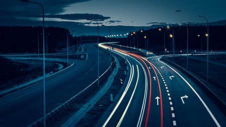 Foto de lights of cars with night. long exposure - Imagen libre de derechos