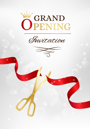 Illustration pour Grand opening invitation card with cut red ribbon and gold scissors. Vector background with light effect - image libre de droit
