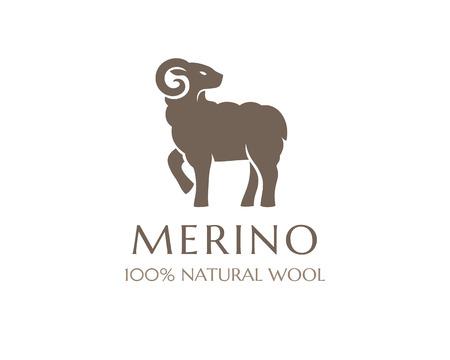 Merino wool icon  Vector sheep logo template  100 percent