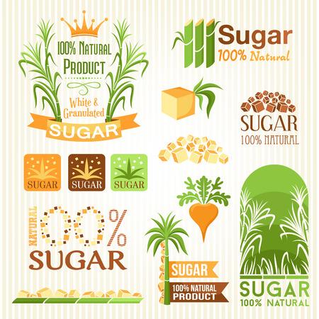Ilustración de Sugar labels, symbols, emblems and icons for design - Imagen libre de derechos