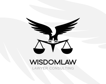 Eagle with balance. Law firm logo template. Concept for legal firms, notary offices or justice companies