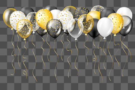 Illustration pour Black, white, gold, transparent and with confetti balloons border. Decorations in realistic style for birthday, anniversary or party design. - image libre de droit