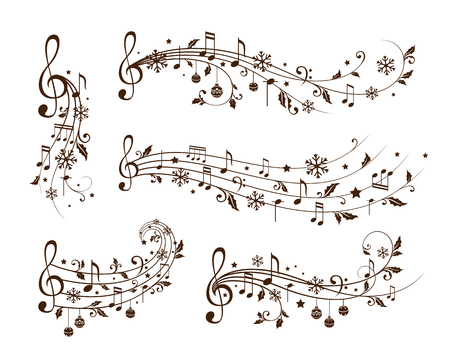 Christmas decoration elements form musical notes, holly leaves and snowflakes. Winter holiday dividers. Monochrome variant