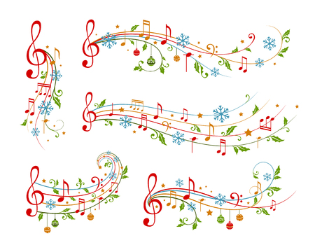 Illustration for Christmas decoration elements form musical notes, holly leaves and snowflakes. Winter holiday dividers. Color variant - Royalty Free Image