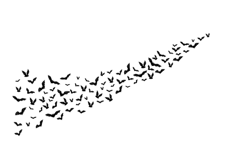 Illustration pour Halloween flying bats. Decoration element from scattered silhouettes - image libre de droit