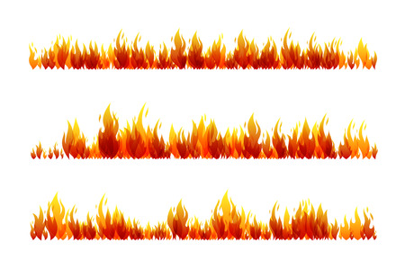 Illustration pour Fire design collection. Horizontal dividers set. Vector illustration. - image libre de droit