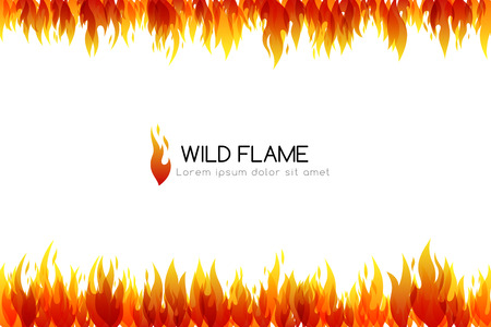 Fire. Design collection. Horizontal banner with top and down border decoration elements Vector illustration