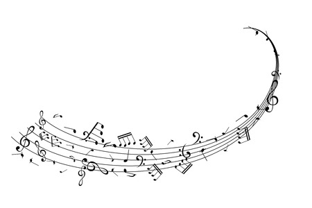 Illustration pour Notes on the horizontal swirl. Music decoration element isolated on the white background. - image libre de droit