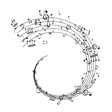 Illustration pour Notes on the swirl. Music decoration element isolated on the white background. - image libre de droit