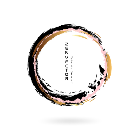 Illustration for Ink zen circle emblem. Hand drawn abstract decoration element. Black, pink and gold - Royalty Free Image