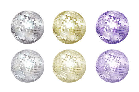Ilustración de Disco balls collection. Silver, gold and purple colors. - Imagen libre de derechos