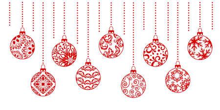 Illustration pour Christmas ornaments collection. Horizontal garland from ornate balls .. - image libre de droit